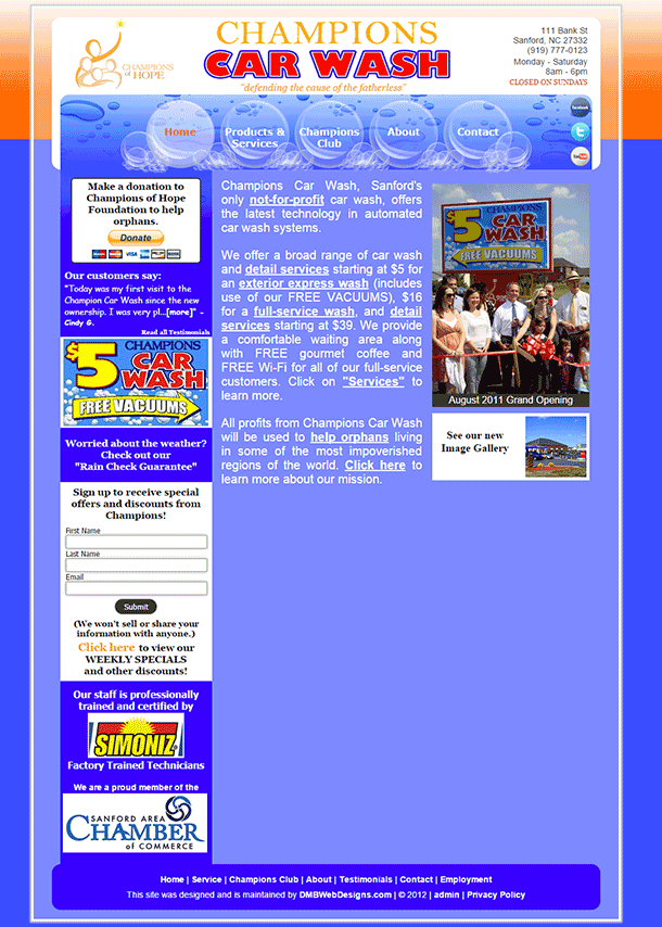 Champions of Hope Carwash website image