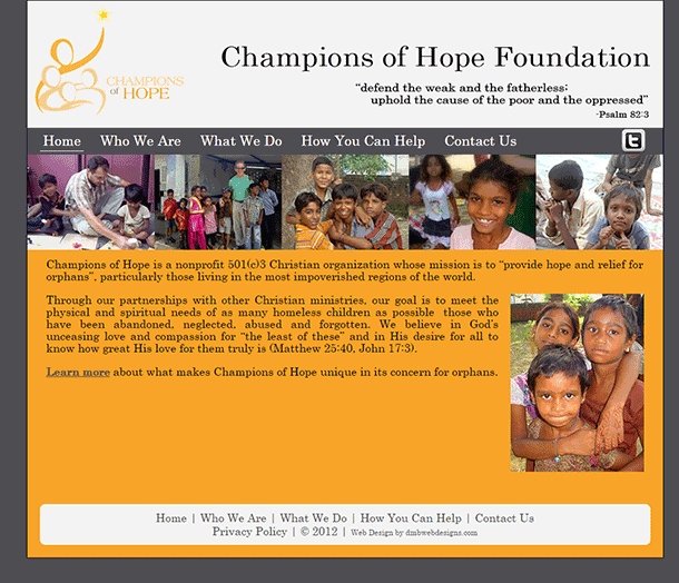 Champions of Hope Foundation website image