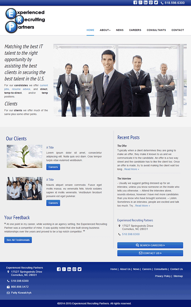 Experienced Recruiting Partners, LLC new website design