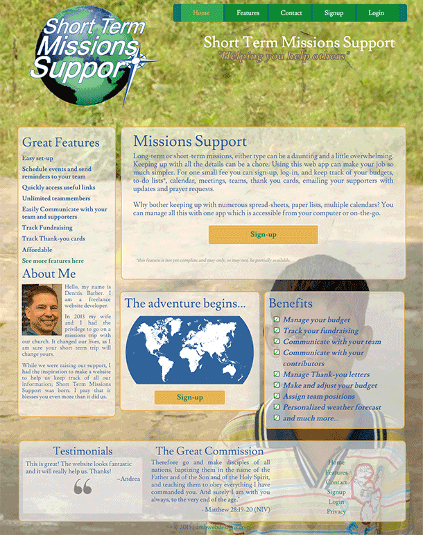 Short Term Mission Support landing page