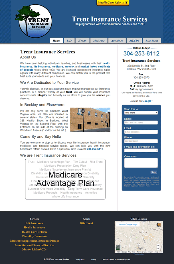 Trent Insurance Services Website image